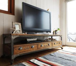 (送料無料) リビングボード 幅150cm キャスター付き テレビ台 テレビボード 木製 西海岸テイストヴィンテージデザインリビング家具 リコルド ローボード TVラック 引き出し付き cd収納 dvd収納 収納棚 木目 ひとり暮らし アンティーク おしゃれ モダン 北欧