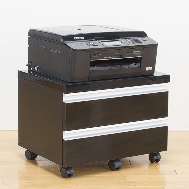 送料無料 UV塗装 鏡面プリンターワゴン ファイルワゴン キャスター付き コピー用紙 a4 b4 書類 収納 プリンターラック プリンター台 引き出し付き サイドワゴン ロータイプ サイドテーブル おしゃれ