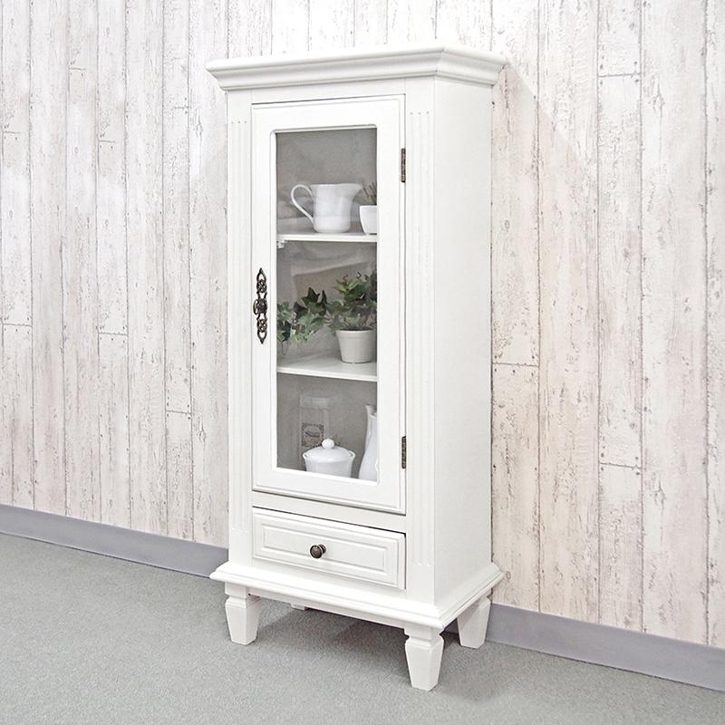 送料無料 スモールキャビネット アンティーク 木製 白家具 飾り棚 収納キャビネット 収納棚 ディスプレイラック デュエット ホワイト 白 おしゃれ 姫系 BCC-7633
