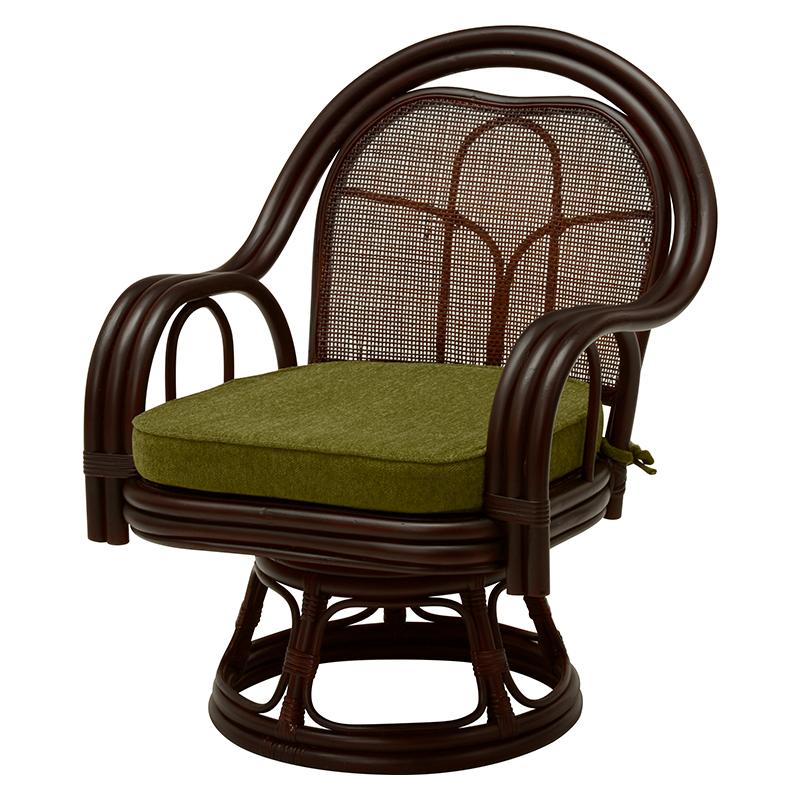 送料無料 2脚組 座椅子 回転 籐回転座椅子 籐 タラン 肘付き 回転椅子 回転チェア 籐チェアー 1人 おしゃれ 木製 椅子 チェア イス チェアー ダークブラウン RZ-522DBR