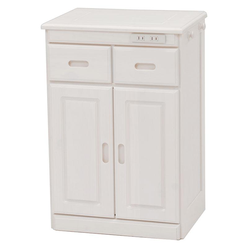 送料無料 キッチンカウンター テーブル 幅47 キッチン 収納 キャスター付き コンセント付き 収納棚 キッチンボード 木製 ホワイトウォッシュ 白 MUD-6520WS