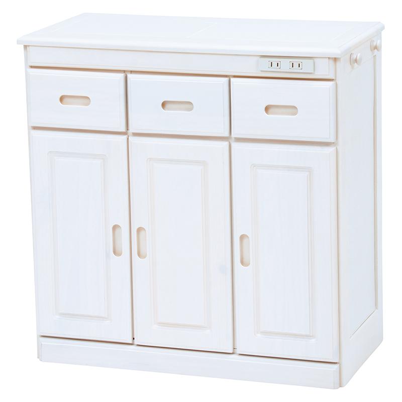 送料無料 キッチンカウンター テーブル 幅69 奥行34 高さ71cm キッチン 収納 キャスター付き コンセント付き 収納棚 キッチンボード 木製 ホワイトウォッシュ MUD-6521WS