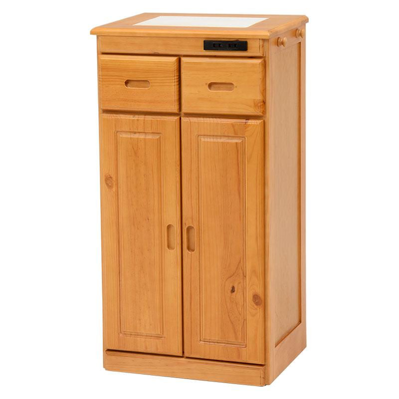 送料無料 キッチンカウンター テーブル 幅47 奥行34 高さ91cm キッチン 収納 キャスター付き コンセント付き 収納棚 キッチンボード 木製 ナチュラル MUD-6523NA