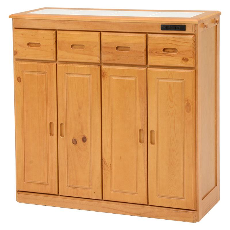 送料無料 キッチンカウンター テーブル 幅91 奥行34 高さ91cm キッチン 収納 キャスター付き コンセント付き 収納棚 キッチンボード 木製 ナチュラル MUD-6525NA