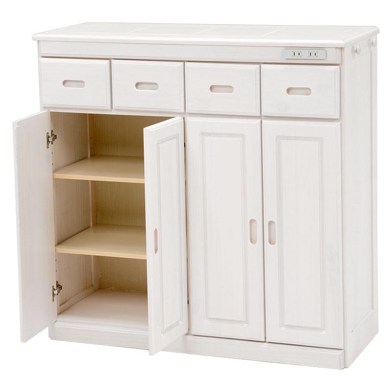 送料無料 キッチンカウンター テーブル 幅91 奥行34 高さ91cm キッチン 収納 キャスター付き コンセント付き 収納棚 キッチンボード 木製 ホワイトウォッシュ 白 MUD-6525WS