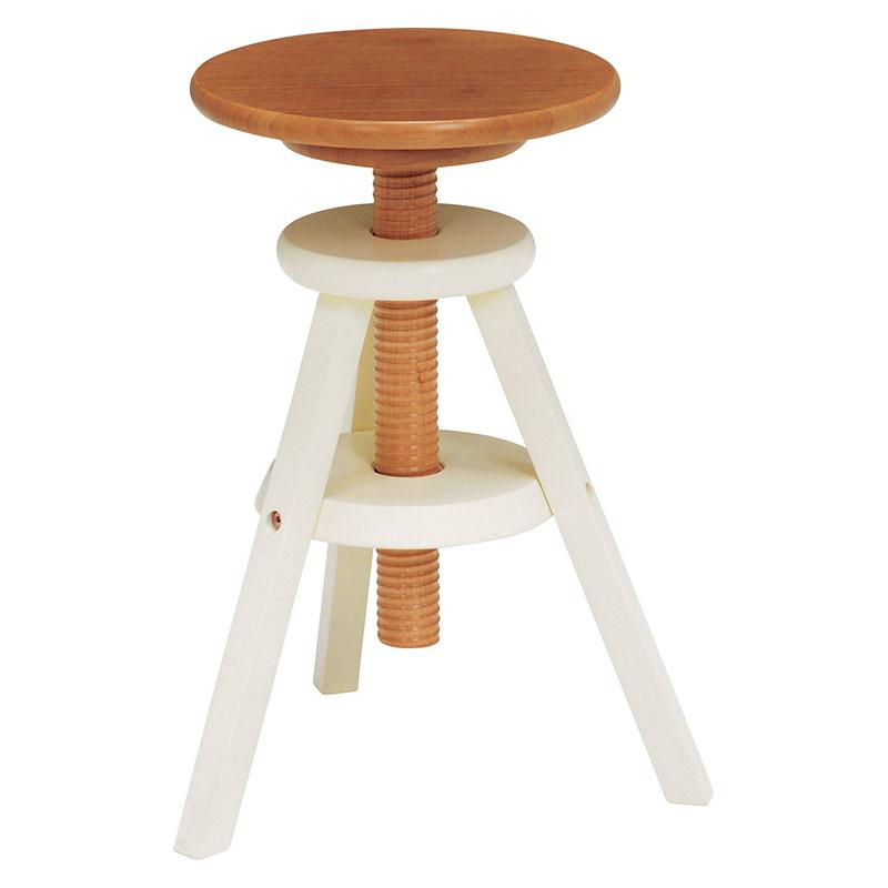 送料無料 回転スツール 回転式 回転昇降式 椅子 木製 おしゃれ いす イス コンパクト ナチュラルホワイト VH-7960NW