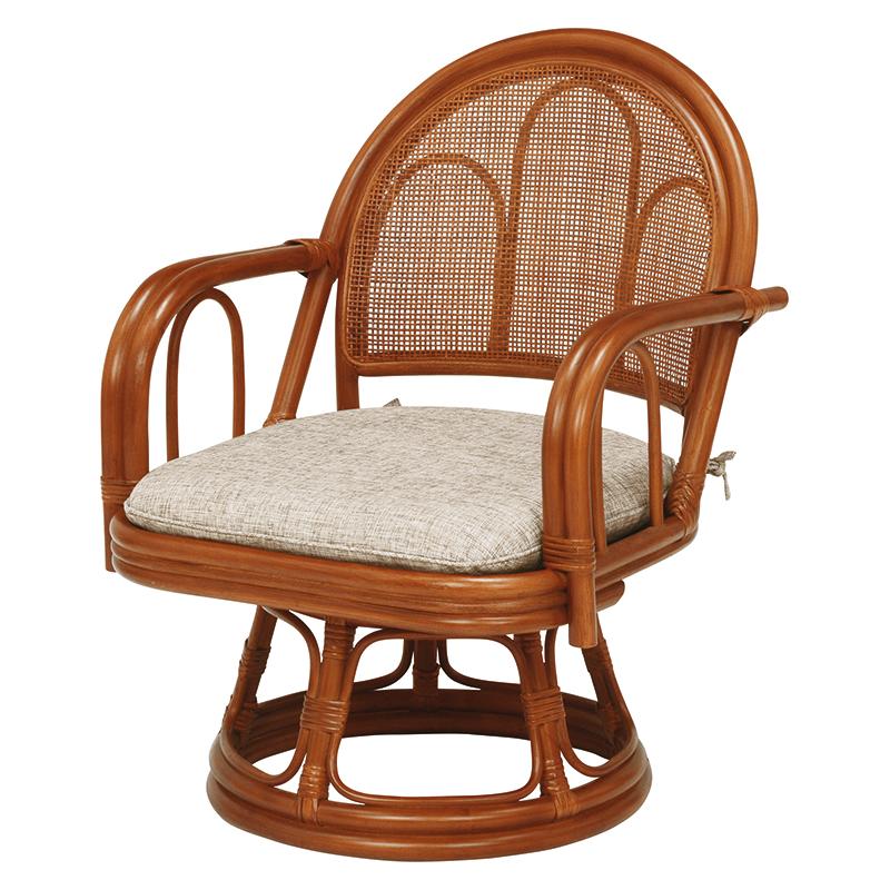 送料無料 2脚組 座椅子 2脚セット 籐楽々座椅子 籐 タラン 肘付き 籐チェアー 1人 おしゃれ 木製 椅子 チェア イス チェアー RZ-942BR