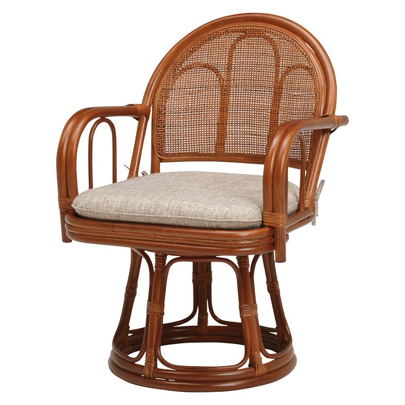 送料無料 2脚組 座椅子 2脚セット 籐楽々座椅子 籐 タラン 肘付き 籐チェアー 1人 おしゃれ 木製 椅子 チェア イス チェアー RZ-943BR