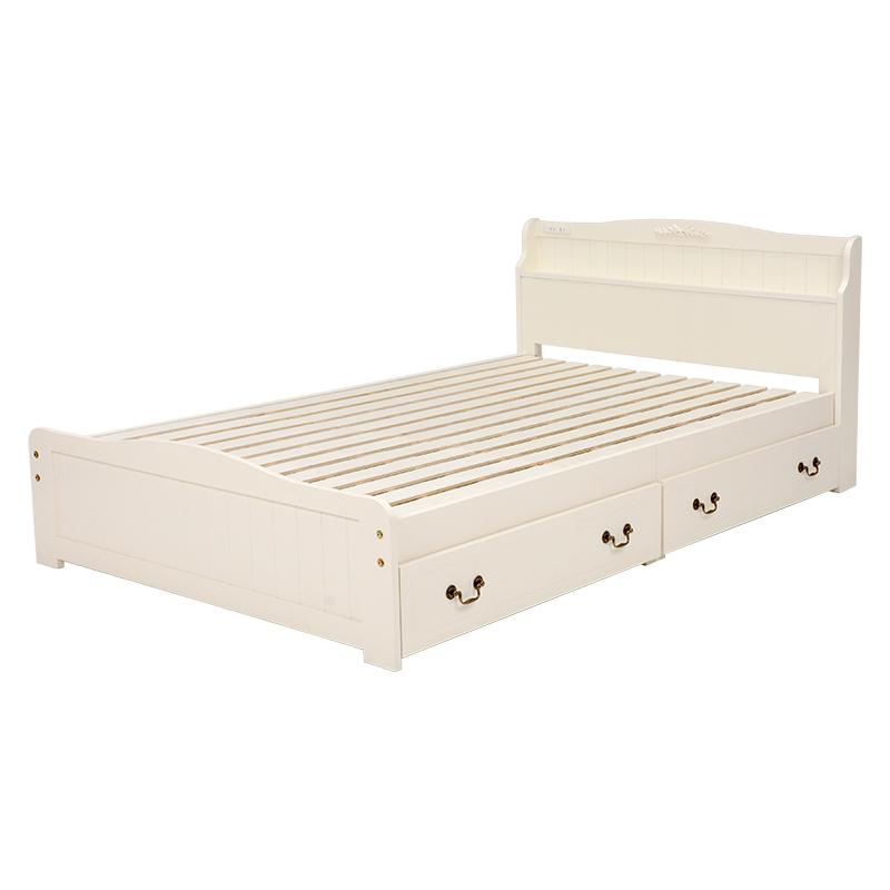 送料無料 ベッド セミダブル 収納 セミダブルベッド コンセント付き 棚付き 引出し付ベッド ベット 収納付きベッド ホワイト 白 姫系 おしゃれ かわいい MB-5124SD-WH