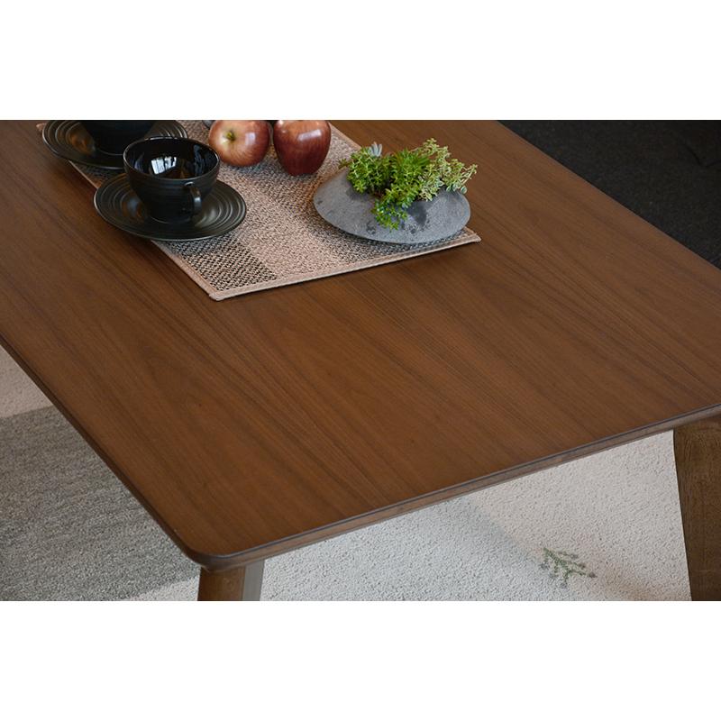 こたつ リビング 炬燵 テーブル ブラウン 薄型ヒーター ローテーブル 継ぎ脚 継ぎ足 105×75 高さ調整可能 スタイリッシュ 長方形 天然木 木の風合い【リノCF105BR】