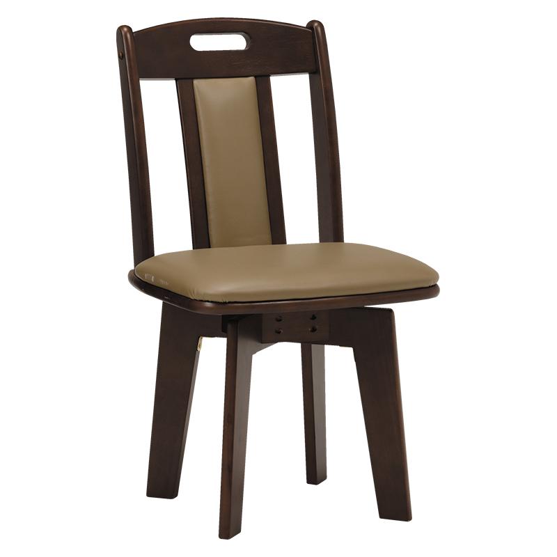 送料無料 ダイニングチェアー【2個セット】 回転 木製 食卓椅子 ダークブラウン 回転ダイニングチェアー 2脚セット レザー 椅子 イス いす【KC-7581DBR】