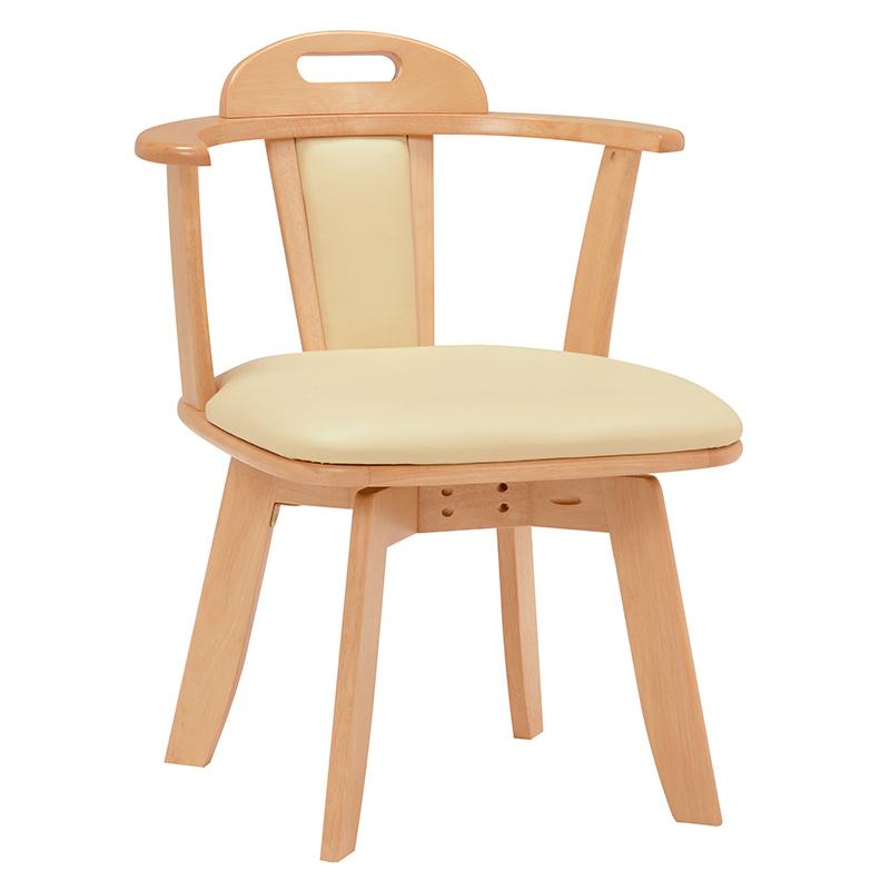 送料無料 ダイニングチェアー【2個セット】 回転 木製 ナチュラル 回転ダイニングチェアー いす 回転チェアー イス 回転椅子 レザー 食卓椅子【KC-7585NA】