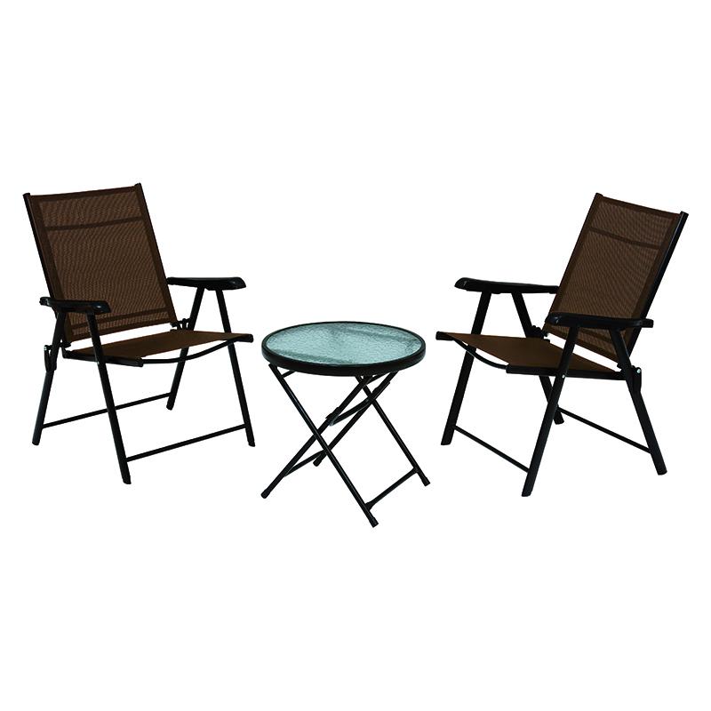 送料無料 ガーデンテーブル・ガーデンチェアセット(3点セット) テラス 折りたたみ ガラステーブル アウトドア バルコニー 庭 完成品 リゾート感 オープンカフェ ガーデン ティータイム ベランダ コンパクトサイズ 椅子 休憩【LGS-4682S】