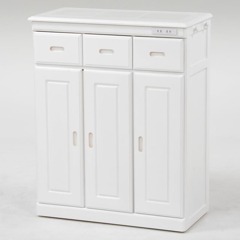 送料無料 キッチンカウンター ホワイト 天板タイル キッチン収納 キャスター付 木製 コンセント付 白【MUD-6133WH】