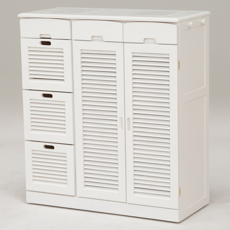 送料無料 キッチンカウンター キッチン収納 幅82cm 白 台所 調味料 収納 ホワイト 食器棚 キャスター付【MUD-6828WH】