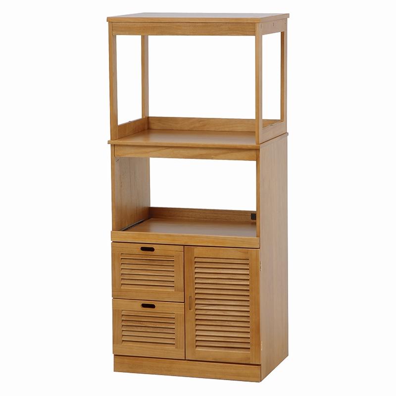 送料無料 木製レンジ台 幅60cm×高さ137cm ハイタイプ キッチン収納 コンセント付 シンプル【MUD-8501】