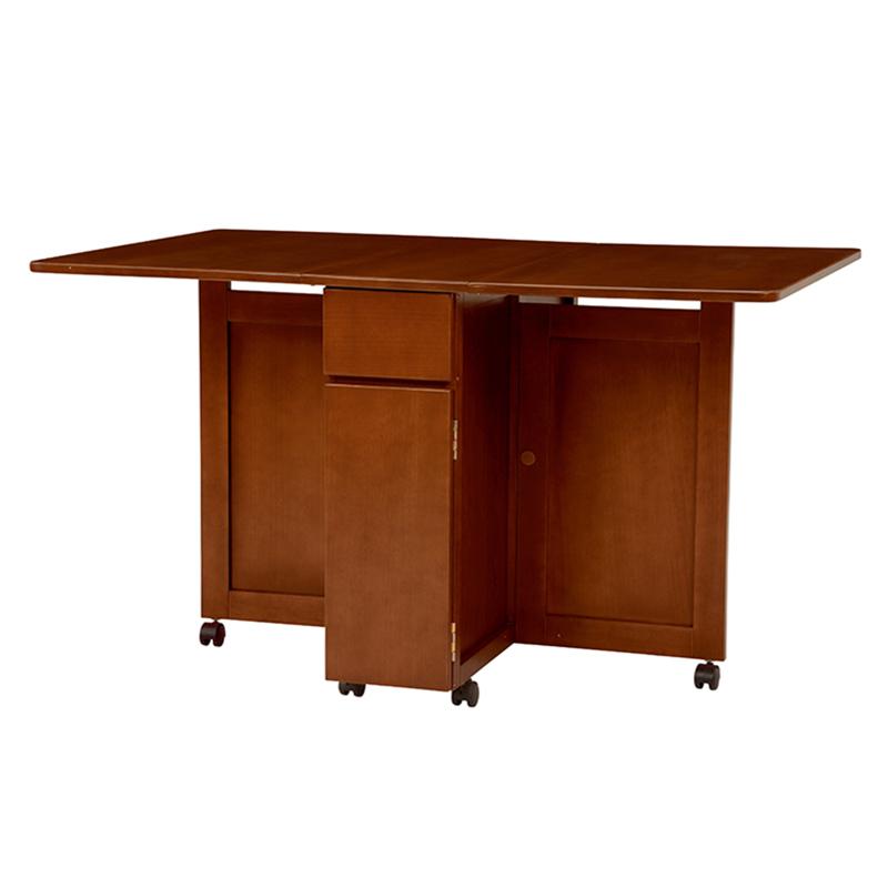 送料無料 バタフライテーブル 机 茶色 キャスター付 折りたたみ ダークブラウン【VDT-7955DBR】
