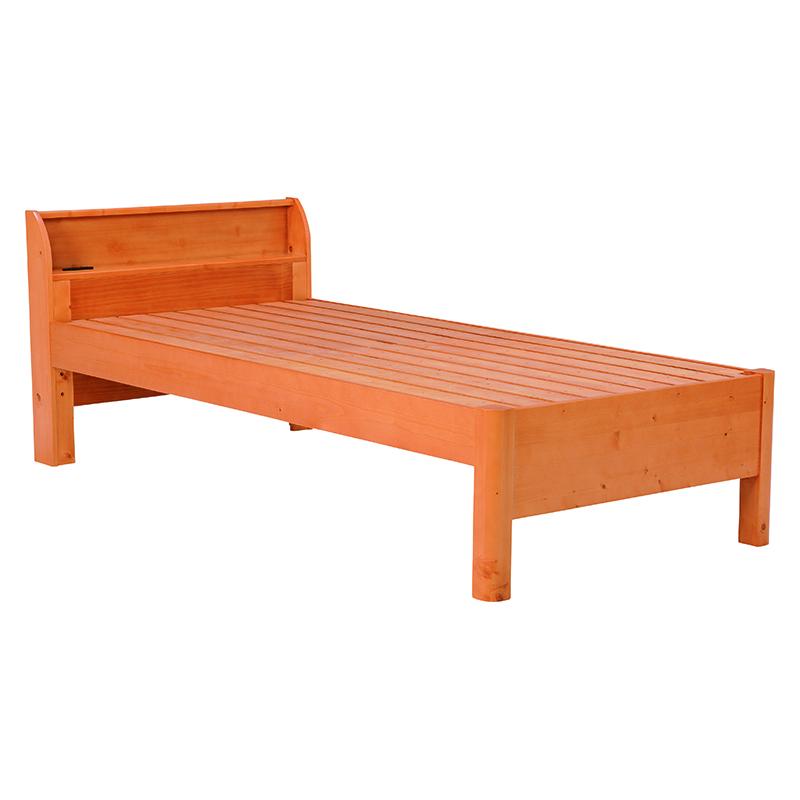 送料無料 高さ調整すのこベッド シングル シンプル ナチュラル 2口コンセント 木製【WB-7701S-NA】