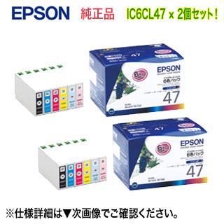 【6色パック×2セット】 エプソン IC6CL47 インクカートリッジ (6色パック) (目印:ブドウ) 純正品 新品 (PM-A970, PM-T990 対応) 【送料無料】