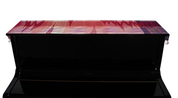 a-012 アップライトピアノトップカバー あかね織り手織り 逸品物 ヤマハYUS1相当 深紅 作家 由美
