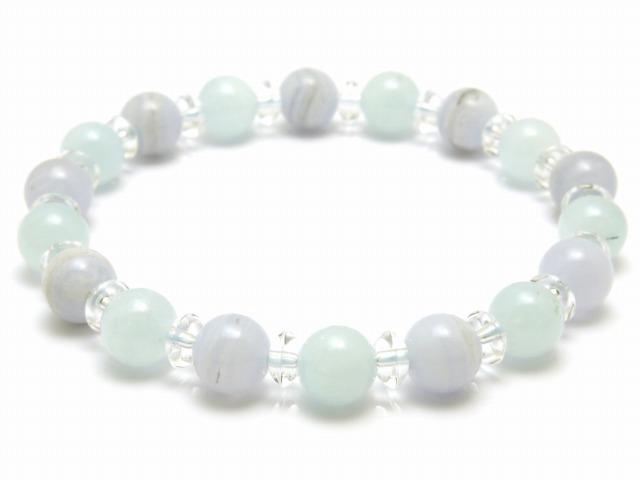 石手链半 50%点 10 8 毫米 x 海蓝宝石蓝色花边玛瑙石手链天然石男式女式 10P03Dec16