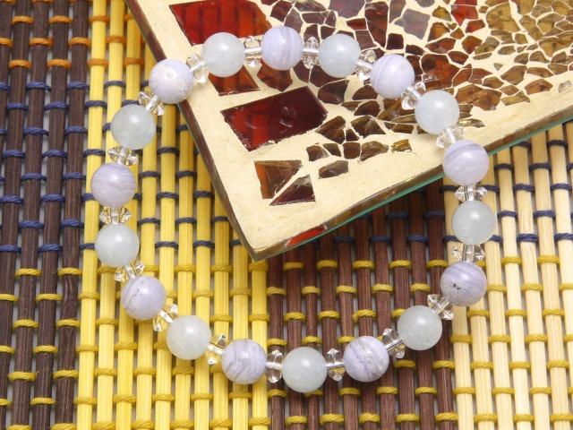 石頭手鏈海藍寶石 8 毫米藍色花邊瑪瑙石手鏈天然石男式女式 10P03Dec16