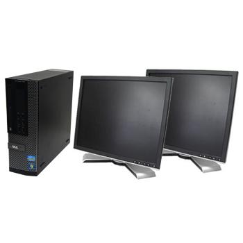 中古パソコン DELL Optiplex 790SF Windows7 Pro Core i3 3.1GHz 2GB 250GB DVD-ROM DtoDリカバリ 19インチ液晶 デュアル構成 【中古】【デスクトップ】【Office付】