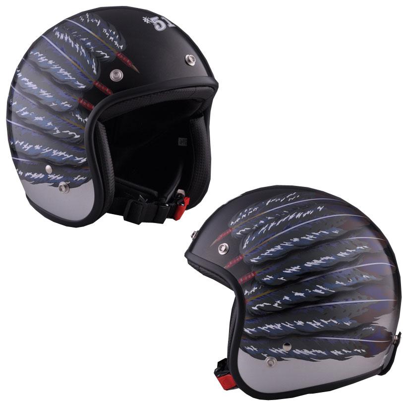☆送料無料☆CUSTOM 72JAMJET #51 Fifty one Feather DesignBLACKジェットヘルメット