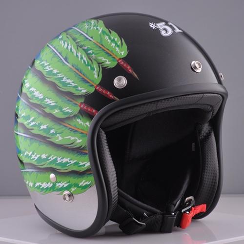 ☆送料無料☆CUSTOM 72JAMJET #51 Fifty one Feather DesignLIME GREENジェットヘルメット