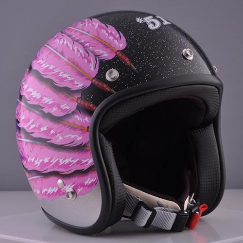 ☆送料無料☆CUSTOM 72JAMJET #51 Fifty one Feather DesignPink Ladies & Kids ジェットヘルメット