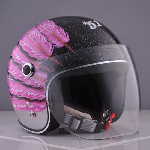 ☆送料無料☆CUSTOM 72JAMJET #51 Fifty one Feather DesignPink Ladies & Kids シールド付きジェットヘルメット