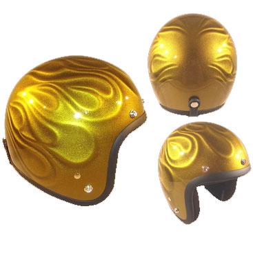 72JAMJET GHOST FLAME  ゴールドジェットヘルメット