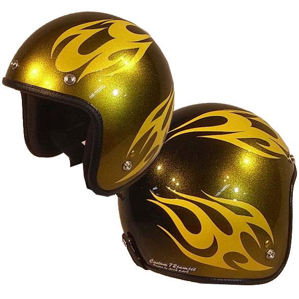 ☆送料無料☆CUSTOM 72JAMJET BURNS CYE/BKジェットヘルメット