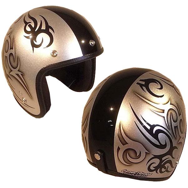 ☆送料無料☆CUSTOM 72JAMJET TRIBAL SV/BKラインジェットヘルメット