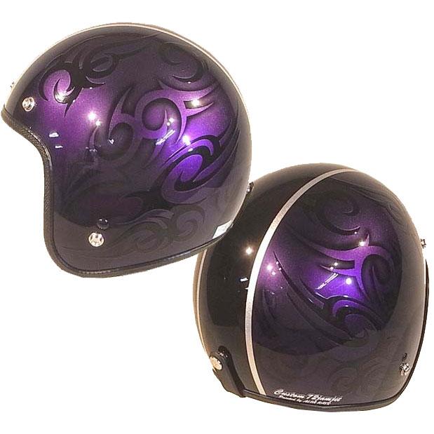 ☆送料無料☆CUSTOM 72JAMJET TRIBAL PPL/BKラインジェットヘルメット