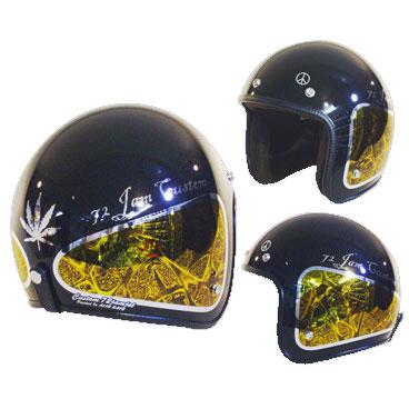 ☆送料無料☆CUSTOM 72JAMJET WEED YLジェットヘルメット