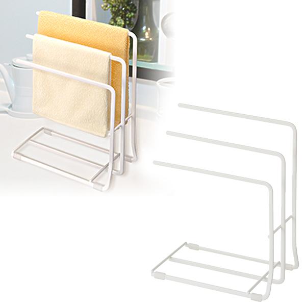 シンプルで清潔感のある白い布巾かけ『POSE』 布巾ハンガー Nポゼ ダブルコート ふきん掛け スタンド ホワイト   ふきん掛け スタンド コンパクト