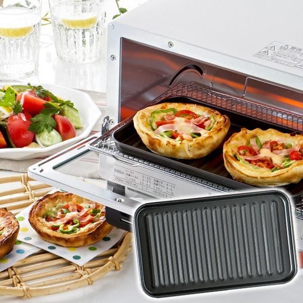 オーブントースターで簡単調理 トースタープレート デュアルプラス オーブントースタートレー FW-TB トースターパン アウトレット トースタートレー 即納 調理皿 グリル ヘルシー フッ素Wコート トースター 簡単調理 アルミ製 こびりつきにくい