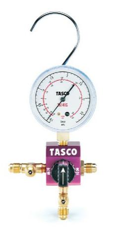 (キャッシュレス5%還元)タスコ TASCO TA123CV-2 ボールバルブ式シングルゲージマニホールドキット バルブ付チャージホース仕様