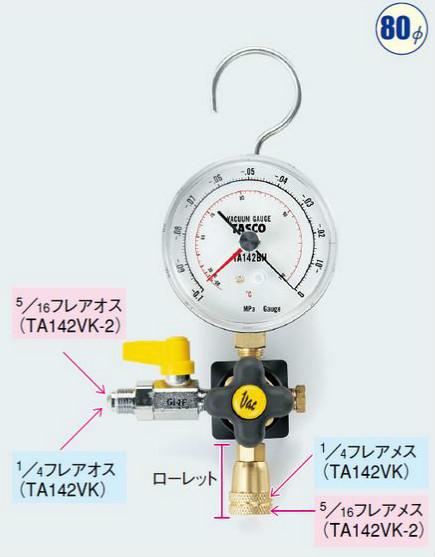 タスコ TASCO TA142VK-2 R410A用真空ゲージキット