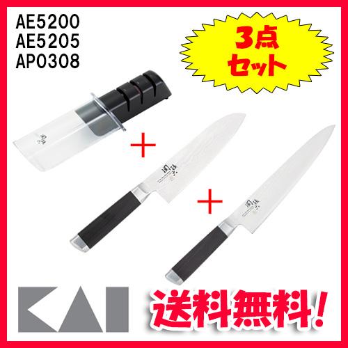 (キャッシュレス5%還元)(送料無料)貝印 AE-5200・AE-5205・AP-0308 関孫六 ダマスカス 三徳包丁 165mm・関孫六 ダマスカス 牛刀 210mm・ダイヤモンド&セラミックシャープナー 3点セット