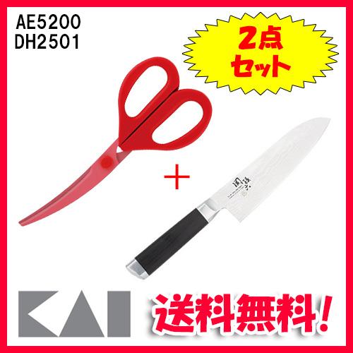 (送料無料)貝印 AE-5200・DH-2501 関孫六 ダマスカス 三徳包丁 165mm・カーブキッチンバサミ 2点セット