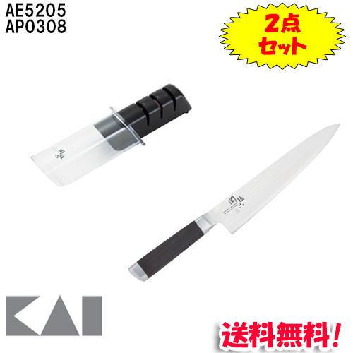 (キャッシュレス5%還元)(送料無料)貝印 AE5205・AP0308 関孫六 ダマスカス 牛刀 210mm・ダイヤモンド&セラミックシャープナー 2点セット