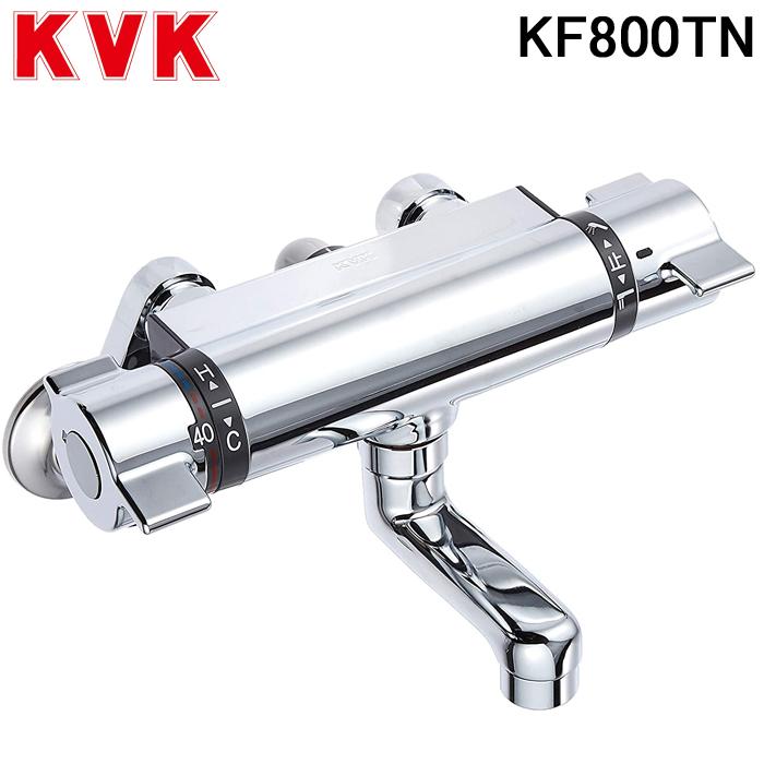 (キャッシュレス5%還元)(送料無料)(在庫有)KVK KF800TN サーモスタット式シャワー80mmパイプ付 混合水栓 フルメタルシリーズ