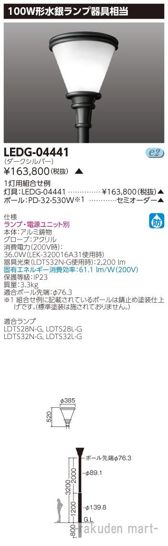 (キャッシュレス5%還元)(送料無料)東芝ライテック LEDG-04441 LED街路灯