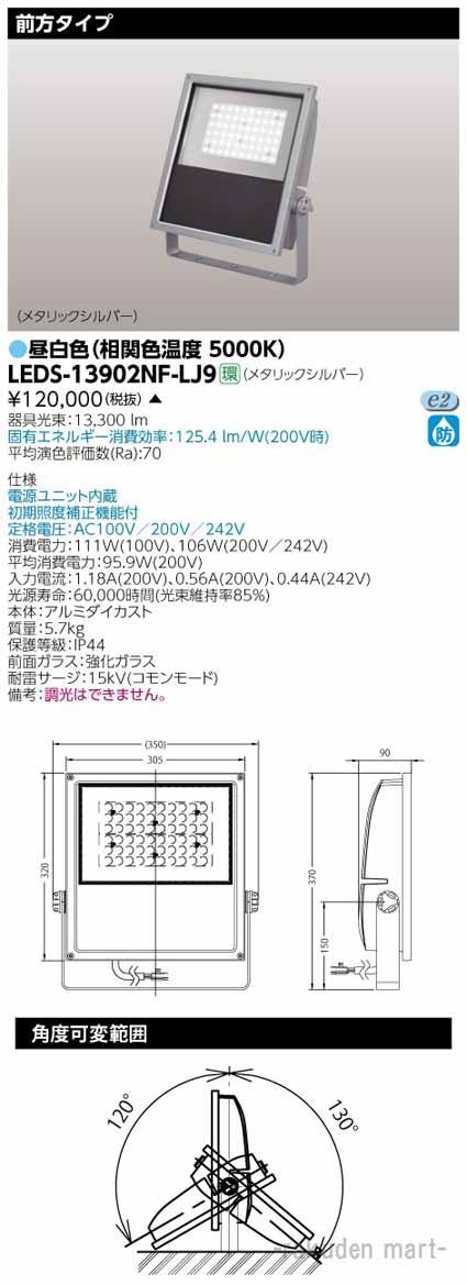 (送料無料)東芝ライテック LEDS-13902NF-LJ9 LED投光器MF250前方MS
