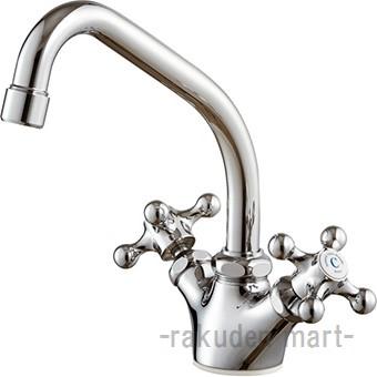 (キャッシュレス5%還元)三栄水栓 SANEI K811YK-13 ツーバルブワンホール混合栓 キッチン用