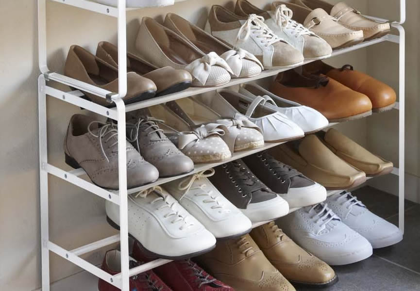 山崎実業 靴 収納 伸縮シューズラック フレーム 3段 ホワイト 2個セット