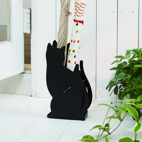 可愛いネコが玄関でお出迎えのアンブレラスタンド 高品質 cat 山崎実業 傘立て かさたて ネコ ブラック 2359 猫 ホルダー 玄関 収納 海外並行輸入正規品 かわいい 傘 ラック 黒