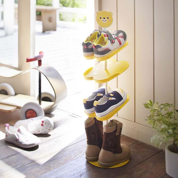 可愛いアニマルモチーフのシューズラック 山崎実業 再販ご予約限定送料無料 靴収納 キッズ シューズラック 7963 クマ 子供用 縦型 割引